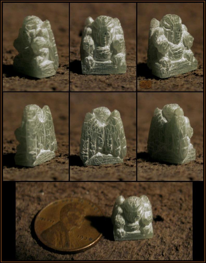Miniature Stone Cthulhu Amulet by CopperCentipede