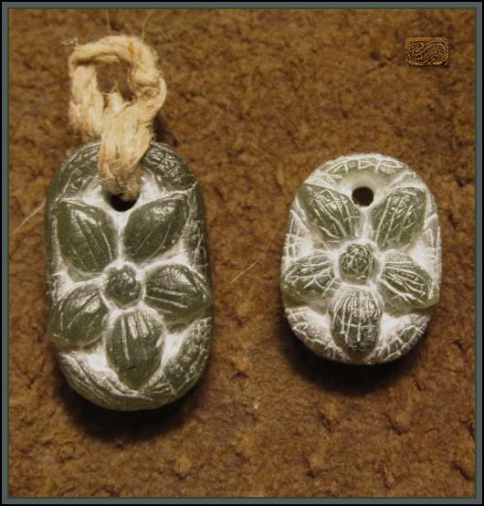 Carved stone flower pendants by coppercentipede on deviantart