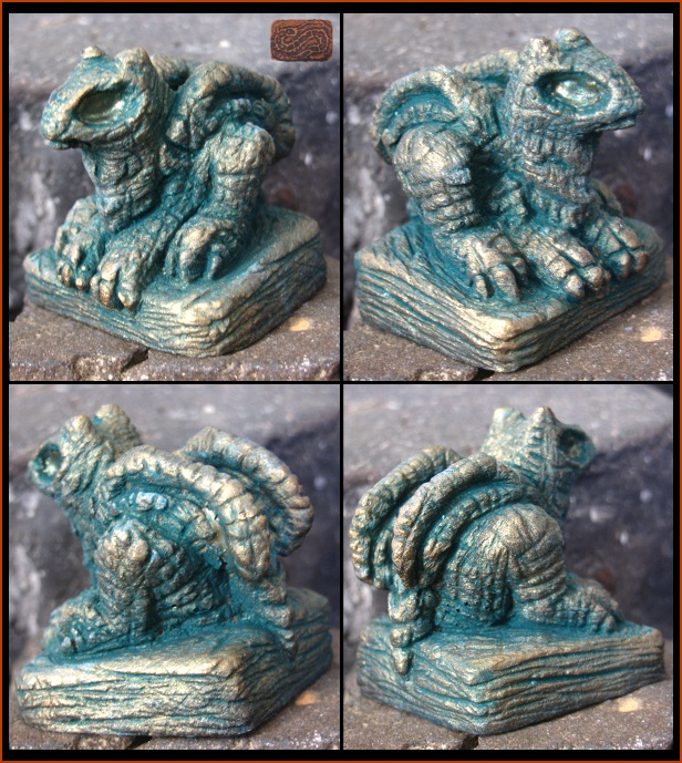 Deep Eyed Metallic Dragon Figure by CopperCentipede