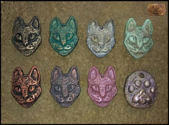 cat pendants by CopperCentipede