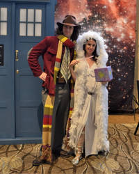 Fourth Doctor and Romana with the Key to Time by freakismyword