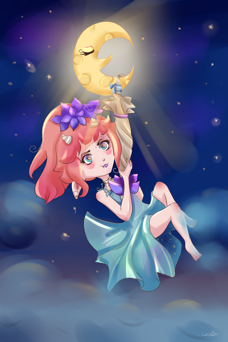Harube and Pourprepluie in moon by LunaBih