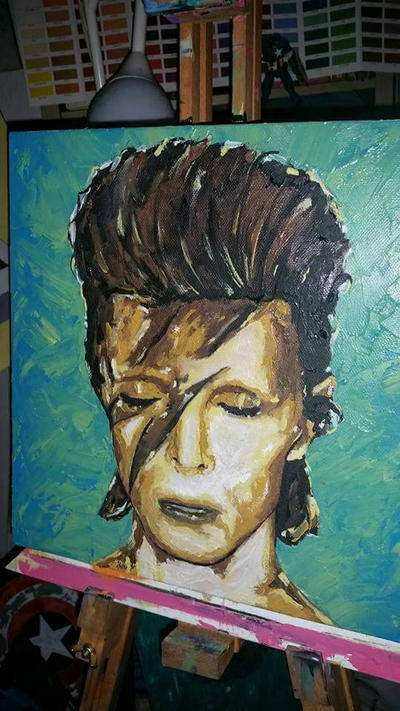 David Bowie impasto oil painting by benhdv