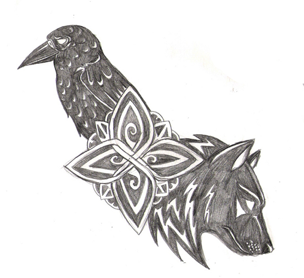 Wolf and Raven Tattoo by Navina