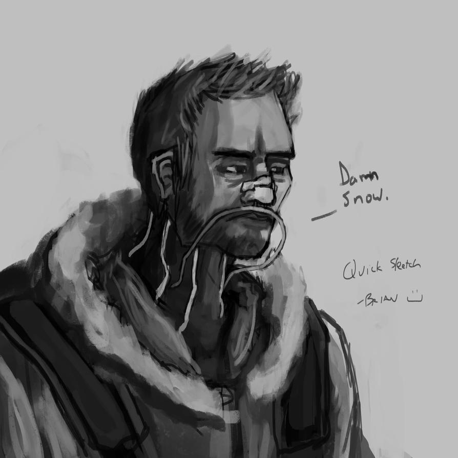 Quick Sketch - Damn Snow by Rhunyc