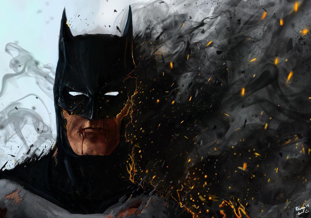 Batman... on fire by Rhunyc