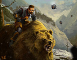 Gordon Freeman on a bear