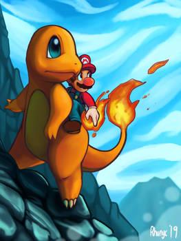 Mario Riding Charmander