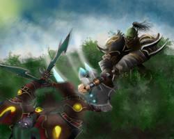 Orc warrior vs Night Elf Rogue by Wugrash