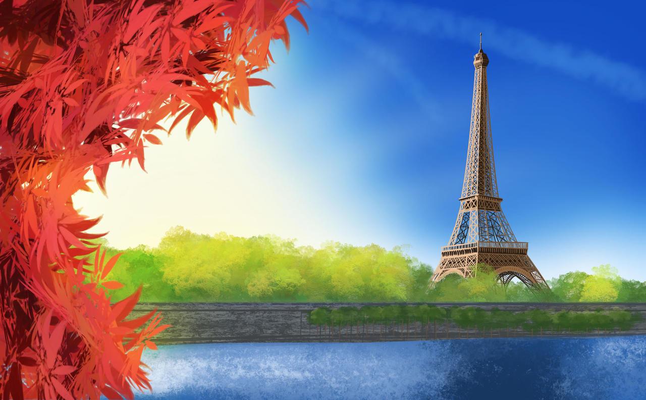 Eiffel Tower by Wugrash on deviantART Eiffel Tower Painting Landscape