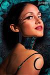 Cyborg Girl Fantasy Blue