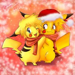 Pika Christmas X3 by sunshineikimaru