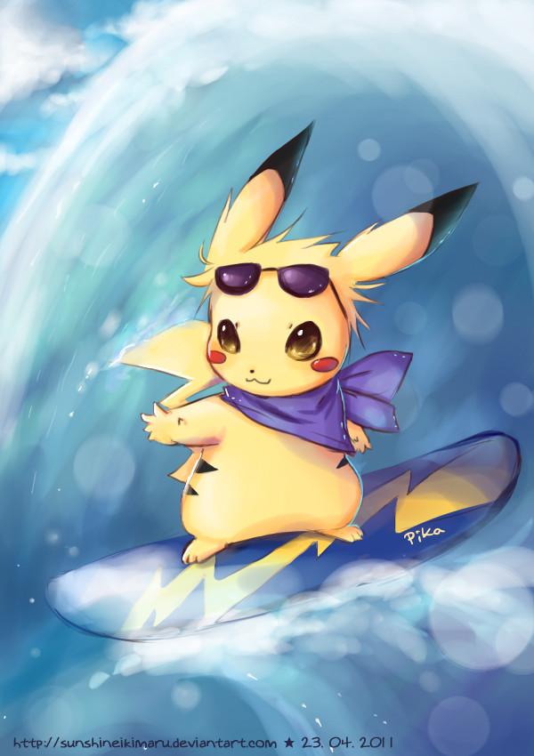 Surfing Pikachu by sunshineikimaru