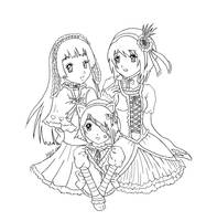Three girls lineart by Dracuria