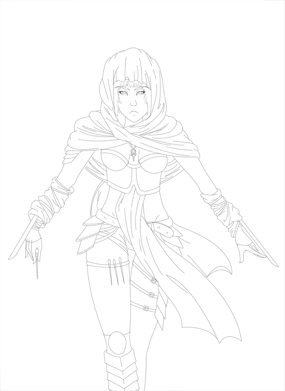 Putty Line Drawing Q : Assassin girl lineart by yoco chan