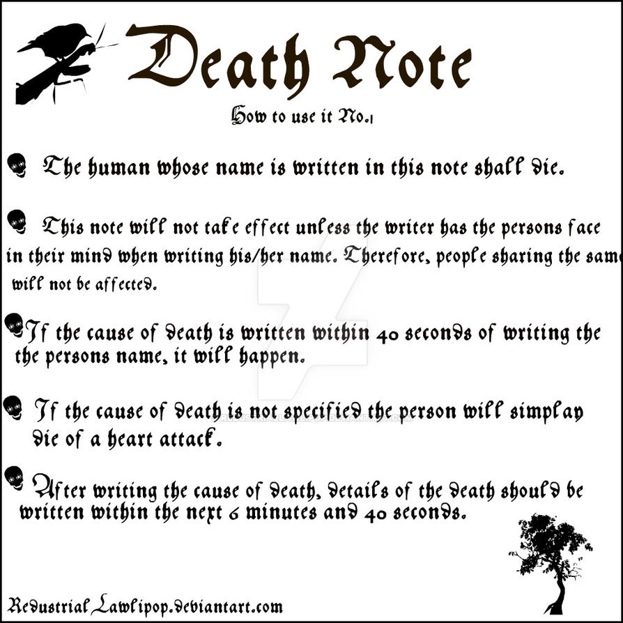 Death Note: How To Use It 1 By RedustrialLawlipop On