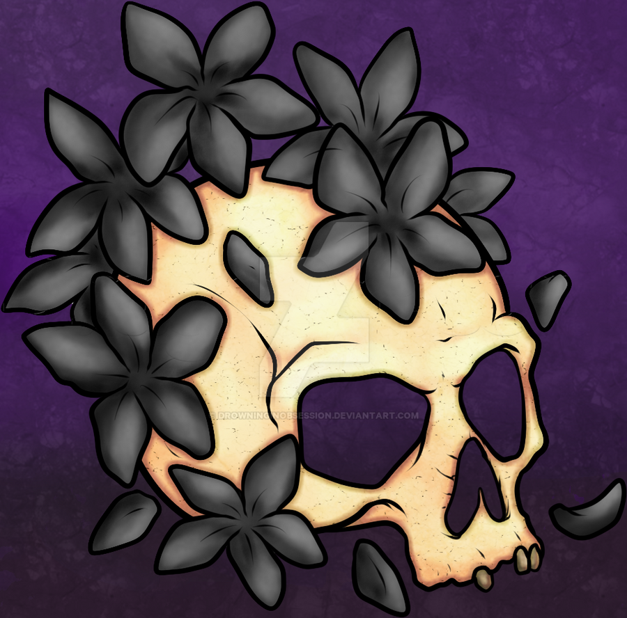 Flower Skull Lineart  - White Bg By DawniedaDA by DrowningInObsession