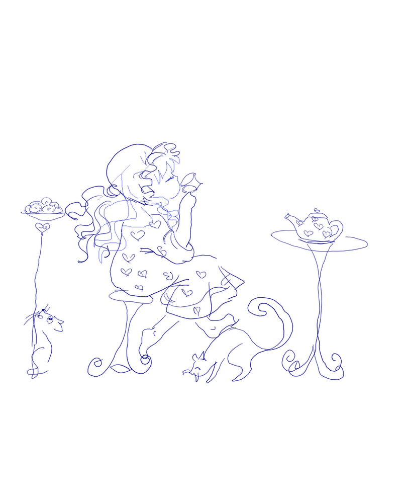 9 - Little Girl Tea Cats by elevor