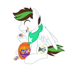 Kibbie eating some fruit snacks
