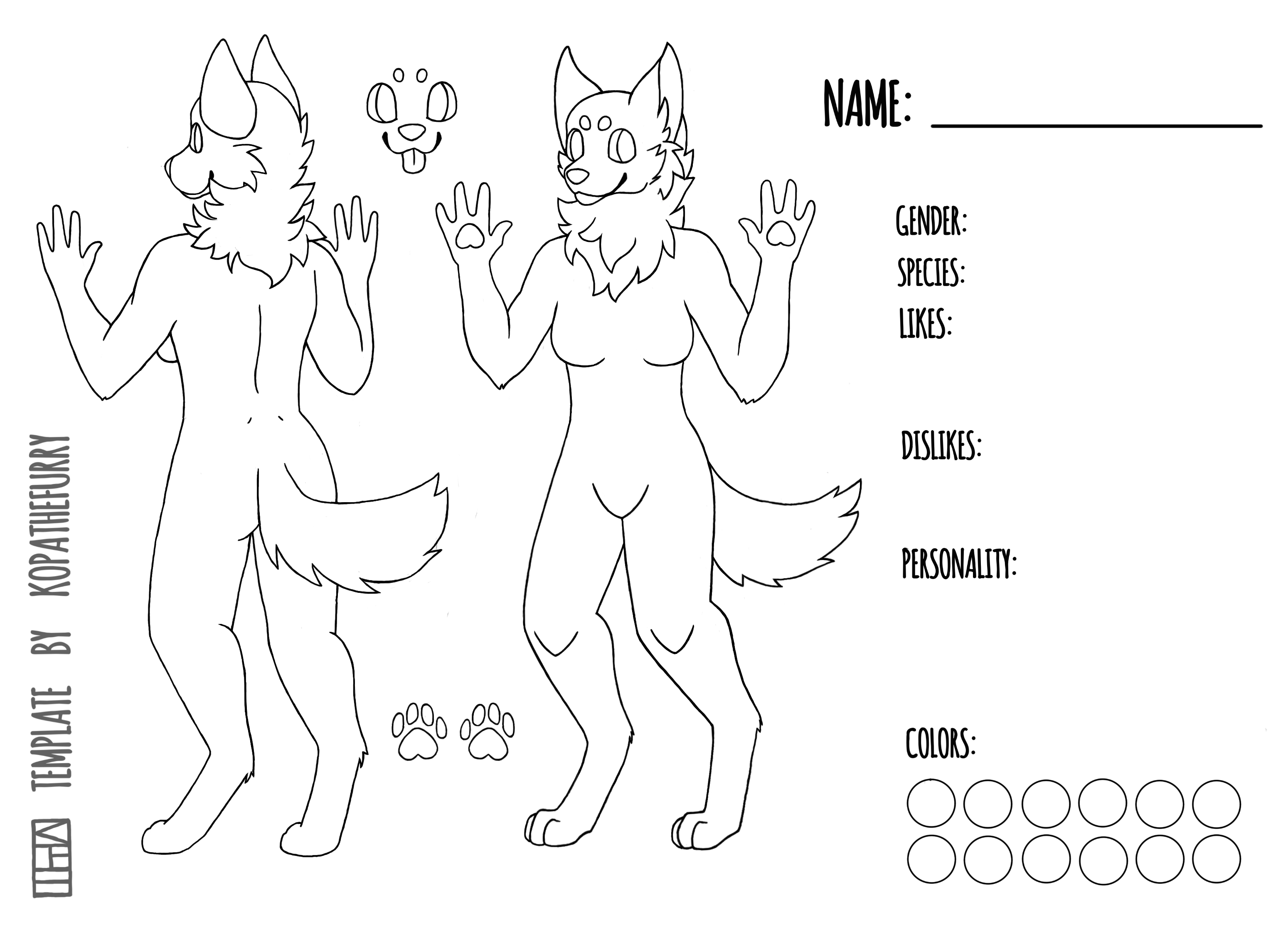 FREE - Female Canine Template / Base by calypso-art on DeviantArt