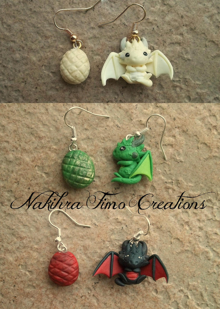 Daenerys's Dragons Earrings Polymer Clay by Nakihra