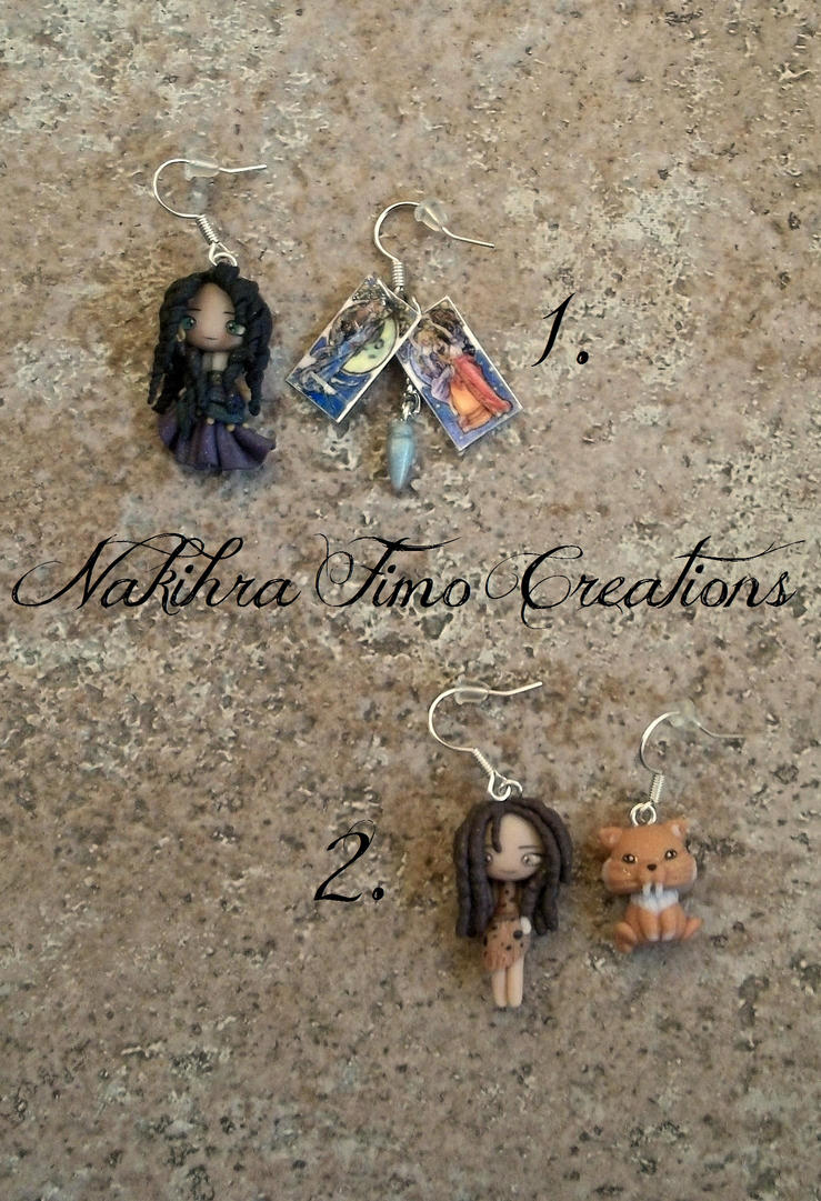 Dolls Earrings Polymer Clay by Nakihra