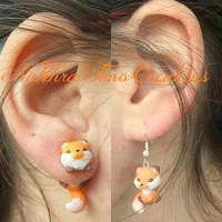 Cute Fox Earrings Polymer Clay by Nakihra