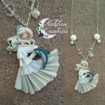 White Mermaid with Dolphin Polymer Clay