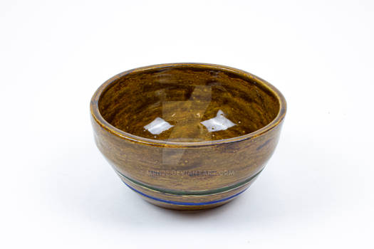 Brown bowl with green and blue lines