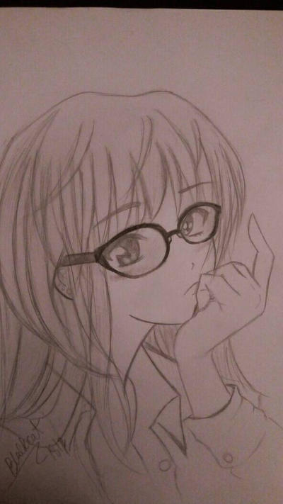 Cute Anime Girl With Glasses By Blackcat1812 On Deviantart