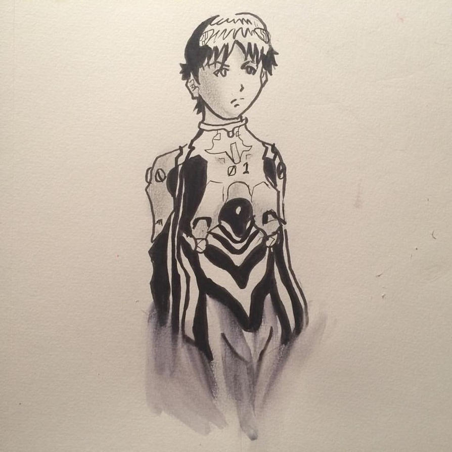 Inktober 2015 Day 4- Ikari Shinji by Lance-Danger