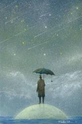 observer of meteor-rain by Ebineyland