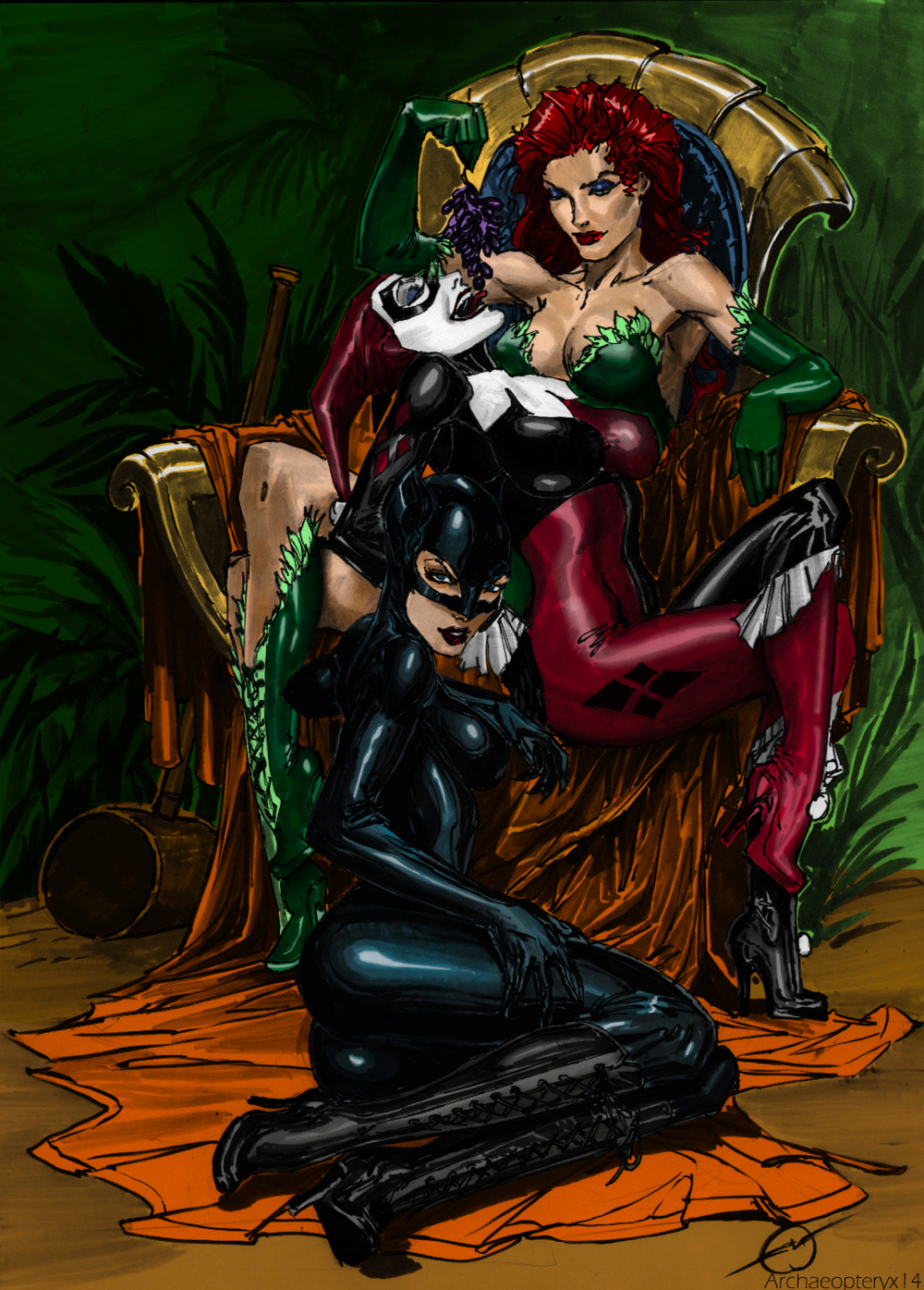 Ivy, Harley and Catwoman by J-Skipper