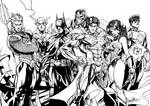 Justice League - Hand inking