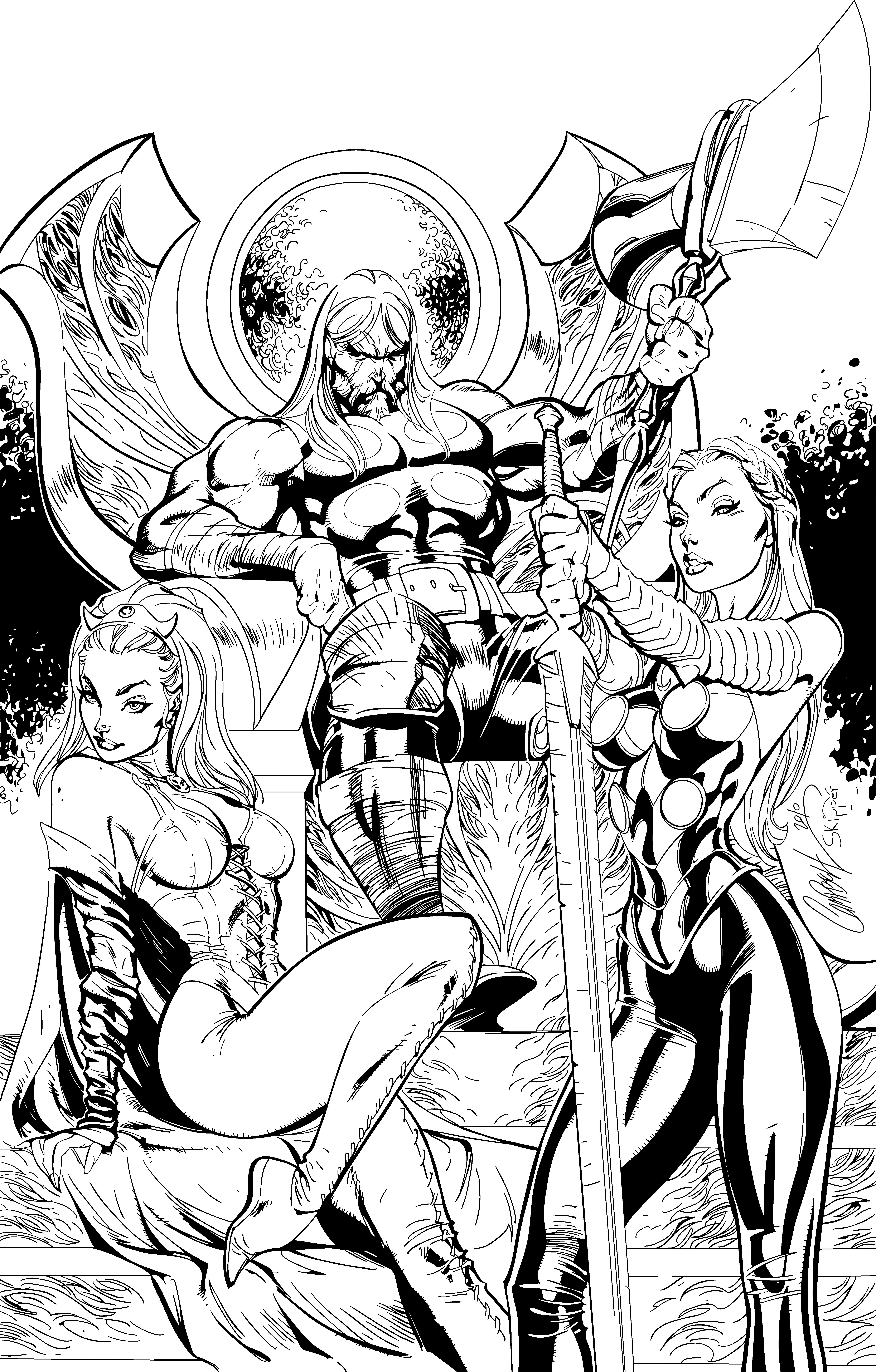 Line Art Comic : Thor inks by j skipper on deviantart