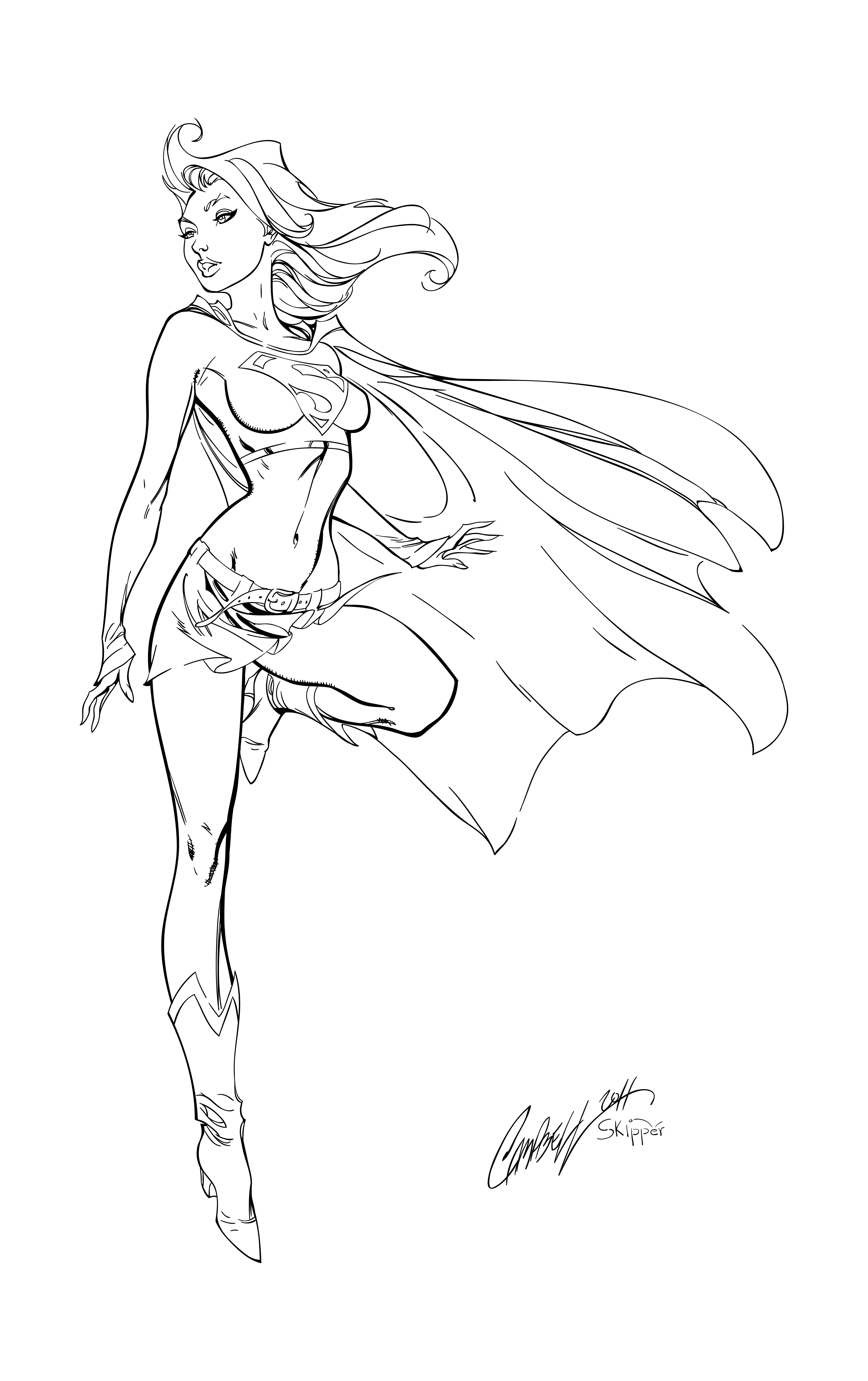 supergirl lineart 2013 by dstpierre on deviantart