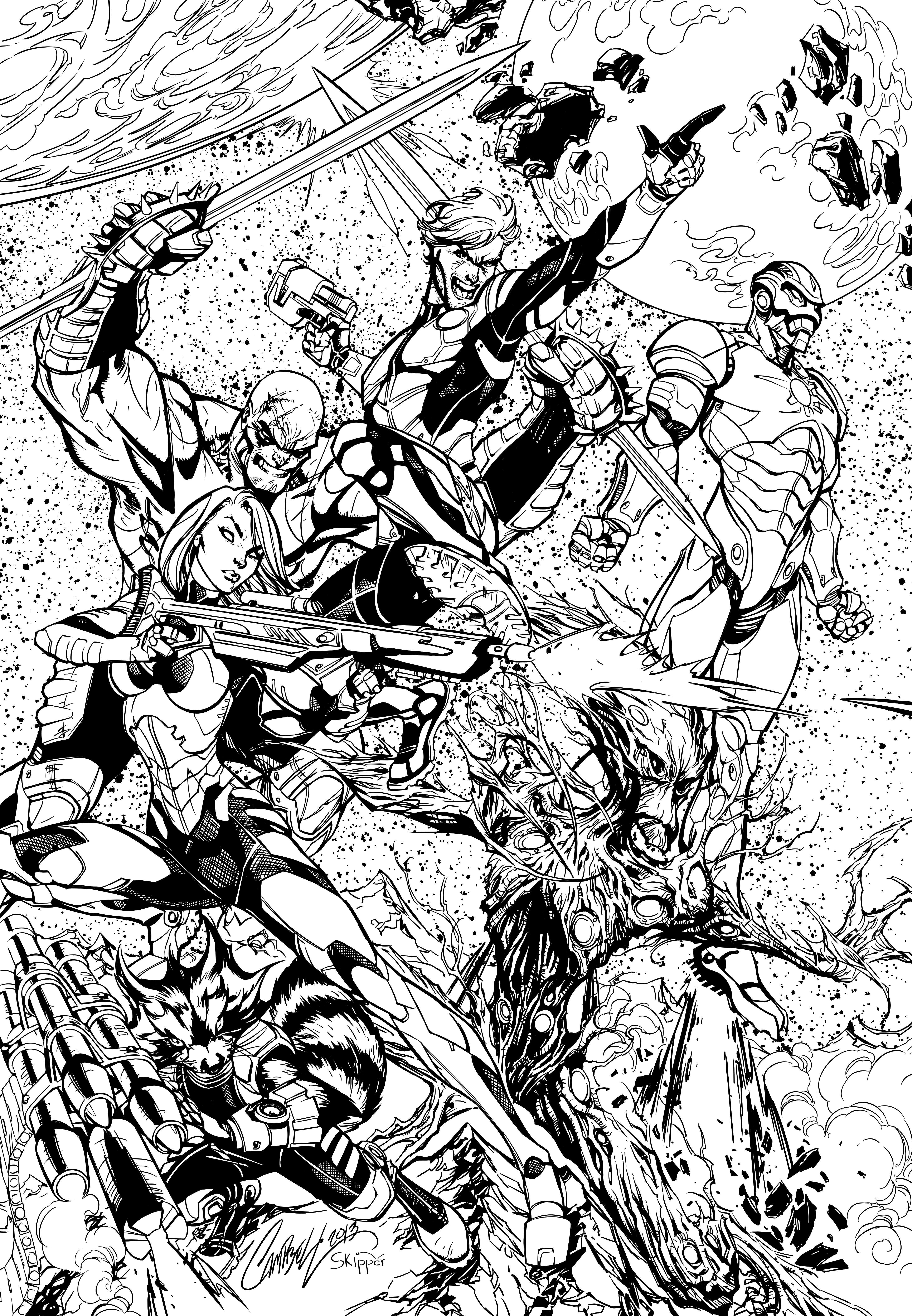 Guardians of the galaxy inks by j skipper on deviantart for Galaxy coloring pages