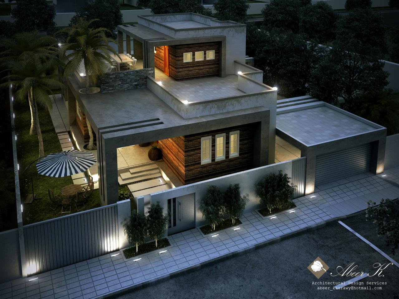 Libya contemp villa night render by kasrawy