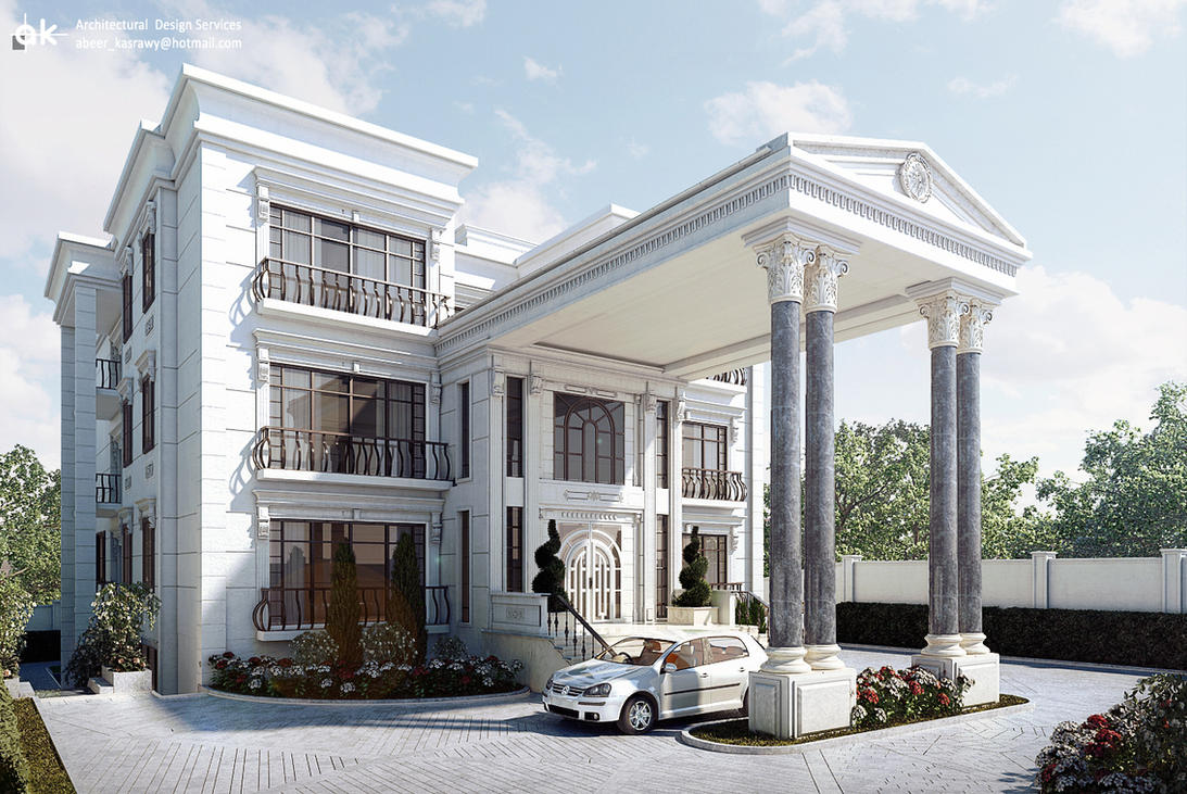 Classic villa exterior by kasrawy on deviantart for Villas exterior design pictures