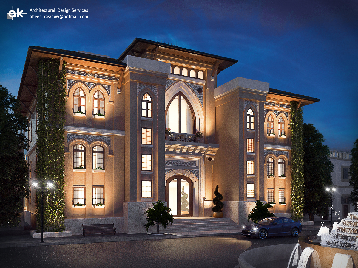 Ksa boutique hotel first draft exterior by kasrawy on for Hotel interior and exterior design