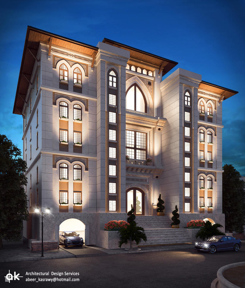 Ksa boutique hotel final night exterior by kasrawy on for Hotel interior and exterior design