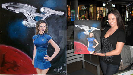 Stephanie and her painting Star Trek
