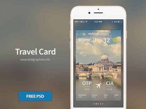 Travel Card iOS - Free PSD