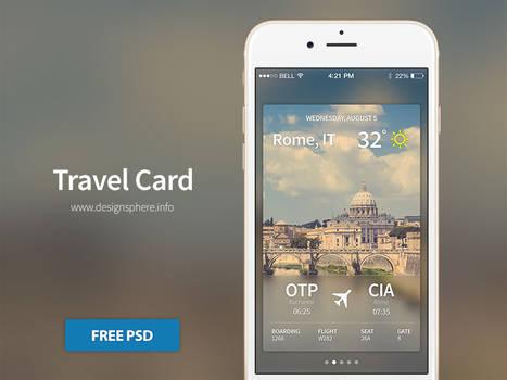Travel Card iOS - Free PSD