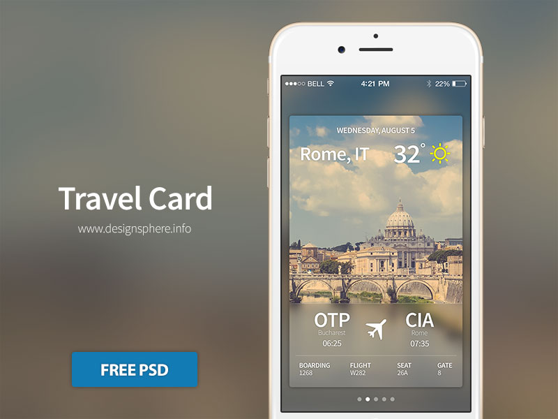 Travel Card iOS - Free PSD by SpEEdyRoBy