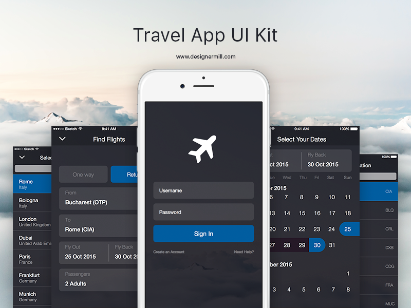 Travel App - UI Kit by SpEEdyRoBy