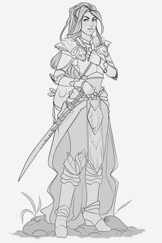 (COMMISSION) fantasy warrior Iravean - sketch