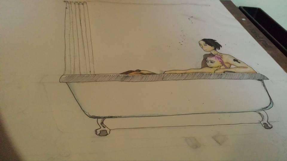 Bathing Couple by wonderkittycat