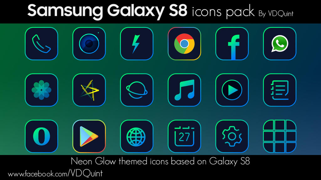 Samsung Galaxy S8 Neon Icons Pack By Vdquint By Vdquint On Deviantart