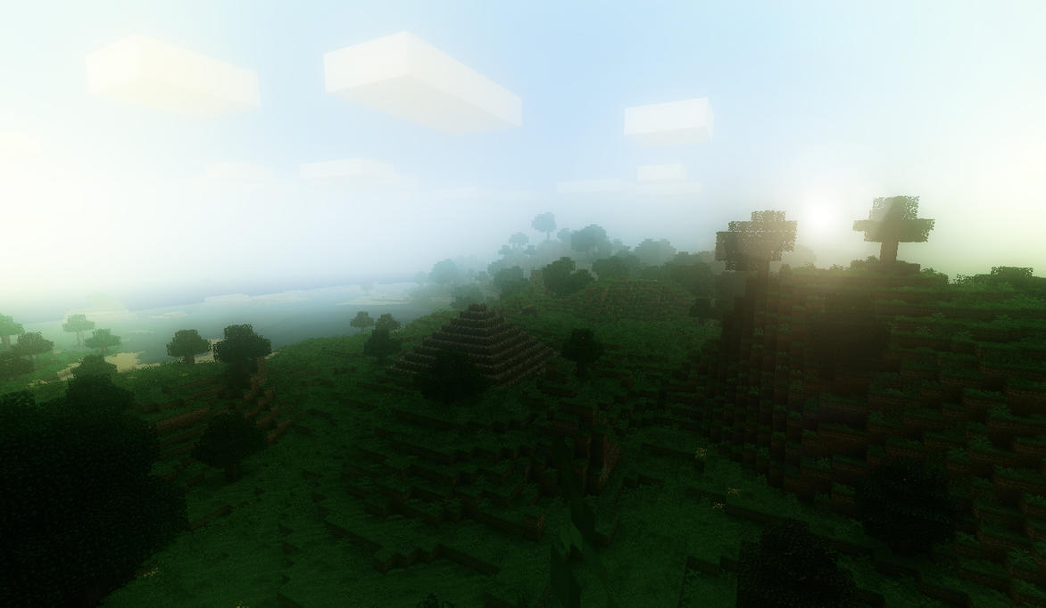 Minecraft foggy sunset by SolidAlexei